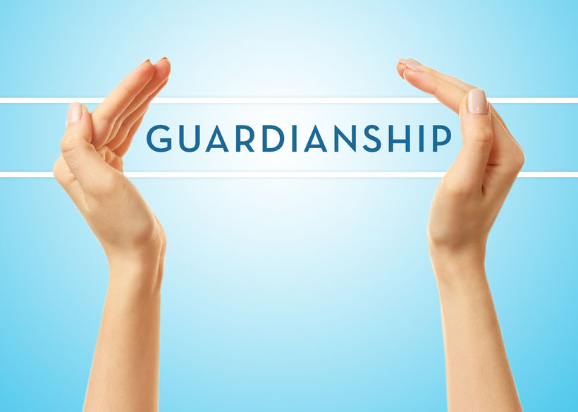 39421890 - female hands with word guardianship on blue background